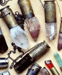 crystals, style, rock, necklaces, shotgun shells