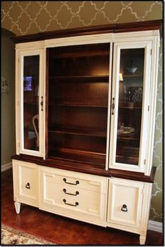 China cabinet with chalk paint and stain... would make a sweet entertainment center in the bedroom.