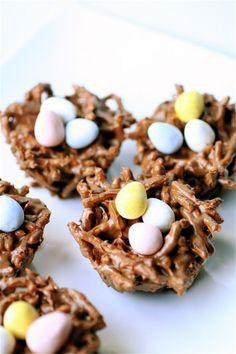 chocol bird, bird nests, easter treats, spring treats, dessert