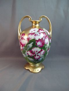 Vintage Antique NIppon Vase  with Double Handle by GalleryBotanica on Etsy, $75.00