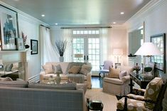 narrow & blue hued living room