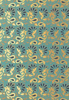 Rampura Schumacher Wallpaper in Turquoise & Gold // #turquoise #wallpaper