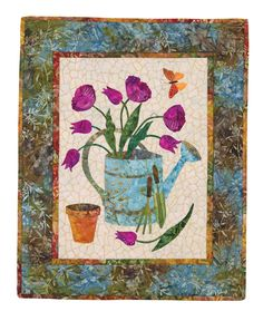 March Block from Seasonal Silhouettes by Edyta Sitar | Laundry Basket Quilts.  Spring flowers, watering can and butterfly. applique quilts, quilt garden, quilt bom, appliqu flower, quilt project, quilt block, special interestsquilt, sitar quilt