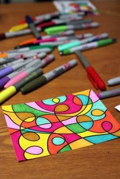 diy coasters, art centers, school, color, abstract art, doodl artwork, line art, art projects, doodle art