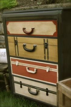 Dresser makeover with faux suitcase drawers - so cool!!