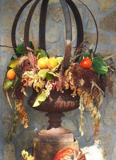 Fall Urn decor using sphear