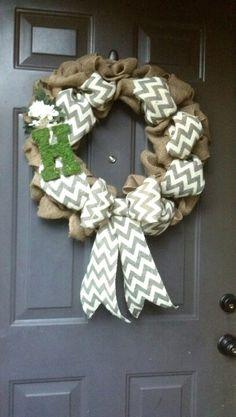 burlap wreaths, chevron wreath