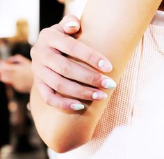 Models at Charlotte Ronson had their nails painted with alternating bare and filled-in half moons. // #nails