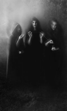 In Greek mythology, the Moirai—often known in English as the Fates—were the white-robed incarnations of destiny. Their number became fixed at three: Clotho (spinner), Lachesis (allotter) and Atropos (unturnable).