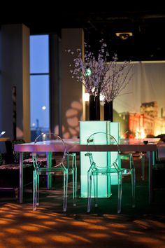 There's nothing like neon LED columns and lucite chairs to add class and inspire fun at big events! | cortevents.com