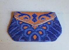 1930s Small Beaded Purse in Rich Blues and by dandelionvintage, $50.00