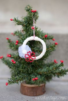 ornaments made out of shower curtain rings!