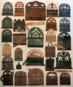 Assorted heddles, for weaving ribbon/belt. Most often given as a suitors gift.  Hälsingland  Sweden