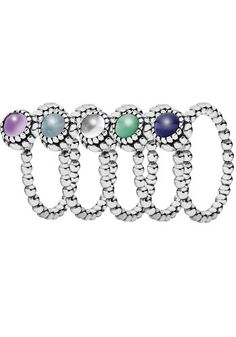 stackable rings in 12 different genuine gemstones to represent each ...
