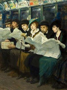 Subway riders, New York City, 1914, Francis Luis Mora. American Painter, born in Uruguay (1874 - 1940). #classic #art #painting #Edwardian