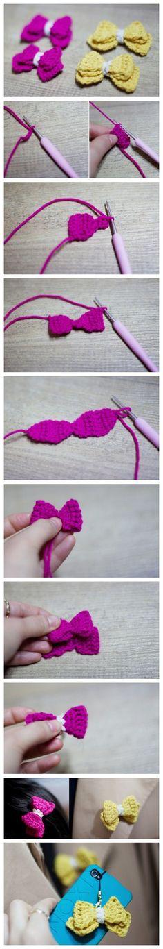 Sina微博: 爱手作的Lois --- 小巧可爱的钩针蝴蝶结,发饰胸针手机链随便你搭哦