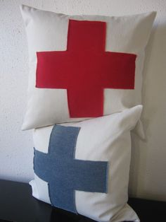 2 Pillows, Decorative Throw Pillow Covers, Set of 2 Red and Blue Swiss Cross Pillow Covers 20 x 20. $84.00, via Etsy.