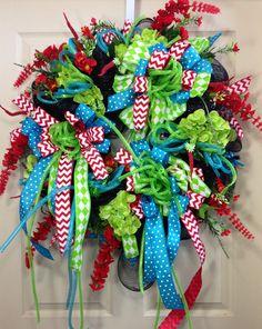 Summer Wreath, Mesh Wreath, Black, Turquoise, Chevron, Polka Dot, Home Decor on Etsy, $130.00