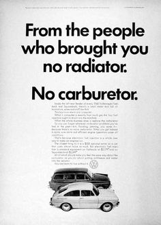 1968 Volkswagen Fastback & Squareback original vintage advertisement. Photographed in black & white.