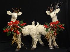 Gorgeous Large male and female Reindeer...Ivory with French print canvas. by DesignsbyHEartWorks