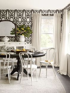 black and white dining room, Country Living