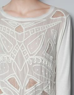 COMBINED TOP EMBROIDERED AT THE FRONT - Shirts - Woman - ZARA United States