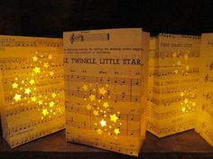 idea, centrepieces music, vintage sheet music, bag light paper, music centrepiec, tables decor of stars, stars wedding theme, music sheets, lanterns