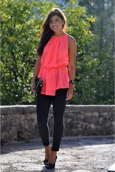 Dark skinnies, heels, bright melon chiffon tank
