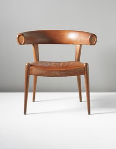 Hans Wegner | Oak and Leather Prototype 'Roman' Chair For Johannes Hansen, c1960.