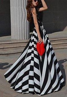 Women's Round Stripe Chiffon Lace Swing Party Maxi Dress