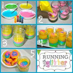 birthdays, rainbow cakes, fun recip, happiness, white cakes, rainbow cupcakes, mason jars, running, glitter jars