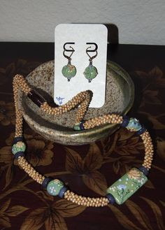 Garden Path Kumihimo Necklace and Earring Set by JasmineTeaDesigns, $180.00