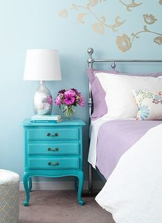This is so pretty! I would totally do this! :D French Provincial, Painted Furniture, Color Combos, Blue, Girl Bedrooms, End Tables, Bedside Tables, Night Stands, Girl Rooms