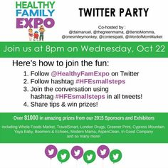 RSVP to Win at the #HFESmallSteps Twitter Party Wed 22nd Oct 8pm PST - The World of ContestPatti