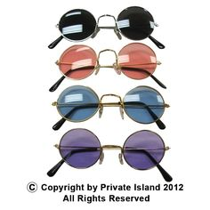 Private Island Party  - Lennon Style Round Frame Sunglasses Mixed Colors, $20.40- $24.00 Looking for a good party favor for your next 60's theme party? With our bulk orders of Lennon glasses you can give them a gift they will never forget. These glasses are perfect for completing your hippie costume or retro rock star look! Includes one dozen glasses in mixed colors.