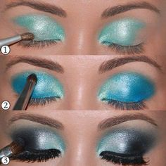 blue smokey eyeshadow step by step---turquoise, baby blue, silver, black