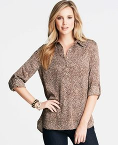 Paved Texture Print Popover Camp Shirt