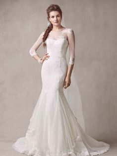 Elegant and sophisticated, you will look ultra feminine in this romantic #weddinggown! This Melissa Sweet trumpet gown is crafted from luxe Chantilly lace and offers a stretch tulle yoke and illusion sleeves with embroidered lace appliques. Melissa Sweet for David's Bridal Style MS251089.