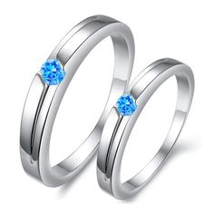 Blue diamond matching for him couple rings gift - $14