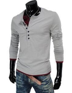 TheLees (VT09) Mens Casual Long Sleeve Layered Style Button Tshirts