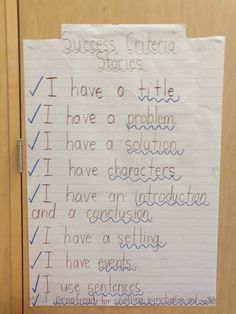 Grade 1 Success Criteria For Writing Stories