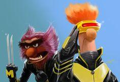 xmen, x men, geek art, comic, funny pictures, disney princesses, jim henson, funni, the muppets