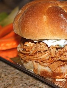 Slow Cooker Pulled Buffalo Chicken Sandwiches