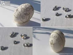 Embroidery on natural eggshell.