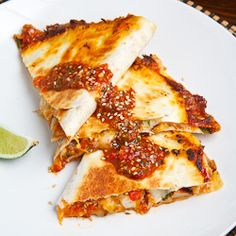 Sweet Chili Chicken Quesadilla - Chicken quesadillas with sweet chili sauce, fresh herbs and plenty of melted cheesy goodness. #foodgawker