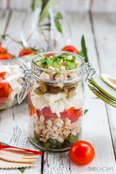 Barley, Feta and asparagus salad in a jar recipe