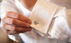 Cuff links for a Jayhawk wedding