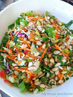 Asian chopped salad recipe, yum. (now I know what kind of dressing to get!)