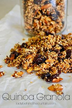 Quinoa Granola. Nice combo! Uncooked quinoa, sunflower seeds and other nuts, dried cherries or other fruit, a quarter cup honey or agave nectar. I like the new way to enjoy quinoa.