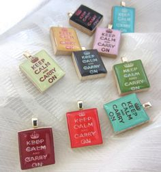 Keep Calm & Carry On - Scrabble Tile Pendants by Mango and Lime Design